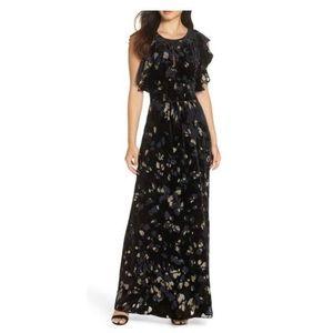 Caara velvet printed maxi dress holiday new